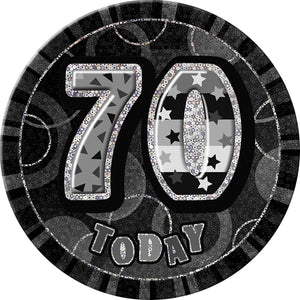 70 Today Black Glitz Jumbo Badge