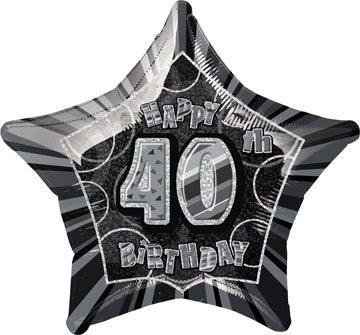 Happy 40th Birthday Black Glitz Helium Filled Foil Balloon