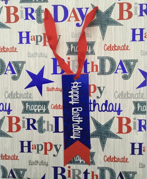 Denim Happy Birthday Extra Large Gift Bag