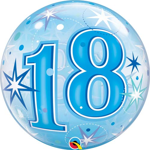 Blue 18 Helium Filled Single Bubble Balloon