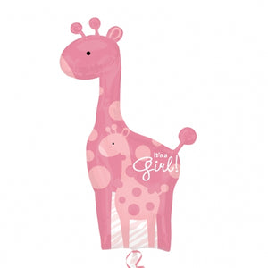 Mum And Baby Pink Giraffe It's A Girl Helium Filled Supershape Foil Balloon