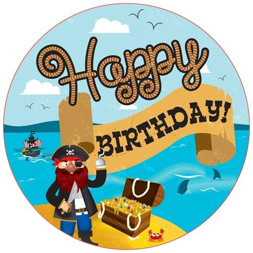 Pirates Happy Birthday Jumbo Badge