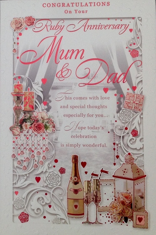 Congratulations On Your Ruby Anniversary Mum And Dad Greeting Card