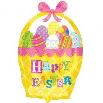 Happy Easter Basket Shape Helium Filled Foil Balloon