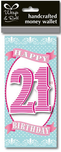 Happy 21st Birthday Pink Handcrafted Money Wallet