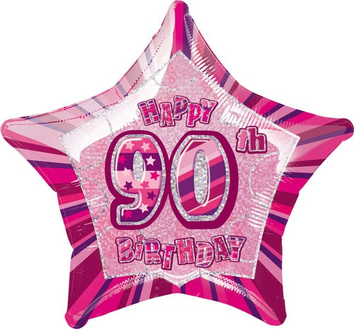 Happy 90th Birthday Pink Glitz Helium Filled Foil Balloon