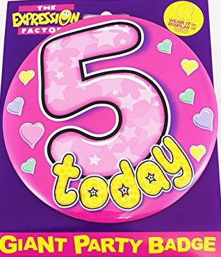 5 Today Pink Hearts Jumbo Badge