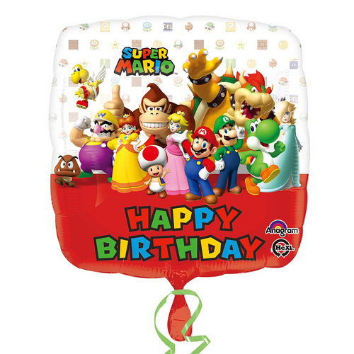 Super Mario Happy Birthday Helium Filled Foil Balloon