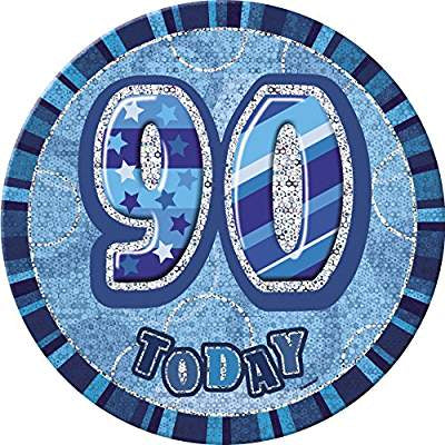 90 Today Blue Glitz Jumbo Badge