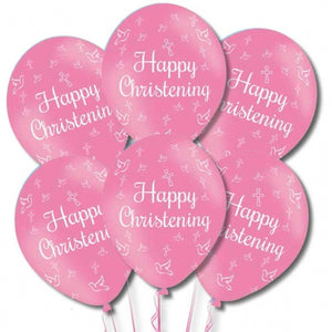 Pink Happy Christening Latex Balloons (6 Pack)