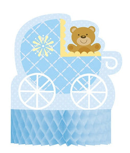 Baby Shower Blue Teddy Honeycomb Centrepiece