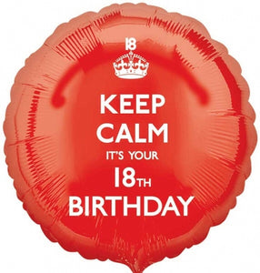 Keep Calm It's Your 18th Birthday Helium Filled Foil Balloon