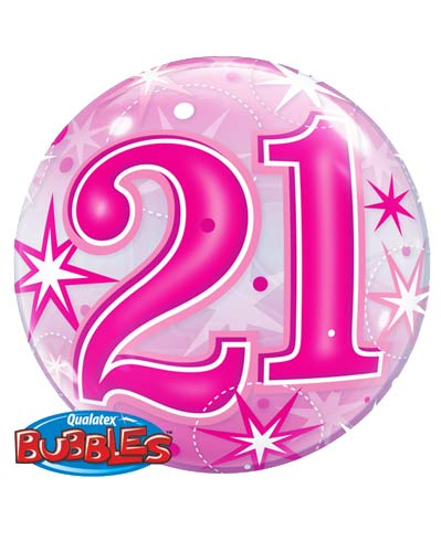 Pink 21 Helium Filled Single Bubble Balloon