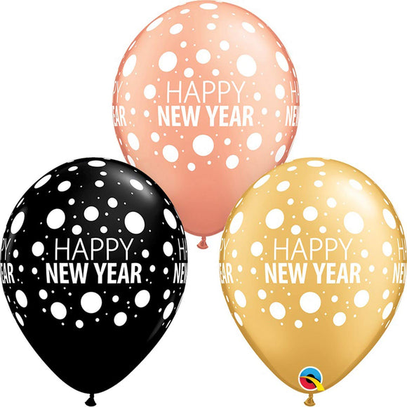 Happy New Year Dots Latex Balloons x6 (Sold loose)