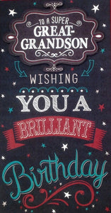 To A Super Great-Grandson Birthday Greeting Card