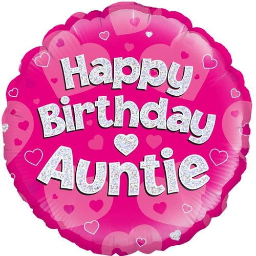 Happy Birthday Auntie Helium Filled Foil Balloon