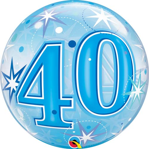 Blue 40 Helium Filled Single Bubble Balloon