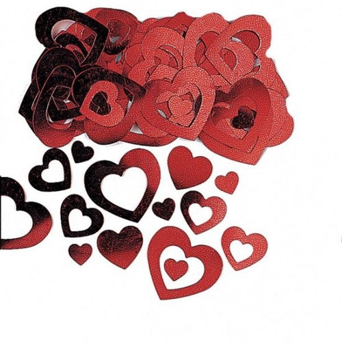 Red Die Cut Metallic Heart Confetti 14g