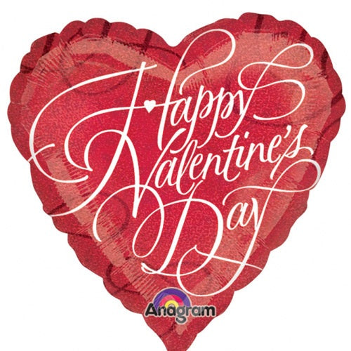 Happy Valentine's Day Holographic Heart Shape Helium Filled Foil Balloon