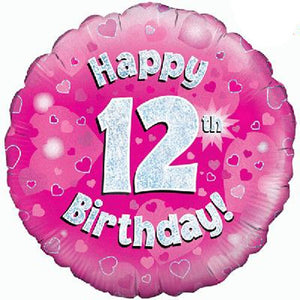 Happy 12th Birthday Pink Helium Filled Foil Balloon