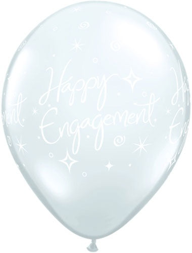 Happy Engagement Diamond Clear Latex Balloon (Sold loose)