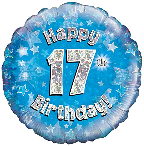 Happy 17th Birthday Blue Helium Filled Foil Balloon