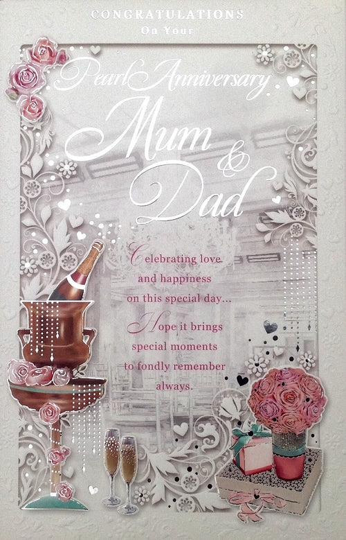 Congratulations On Your Pearl Anniversary Mum And Dad Greeting Card