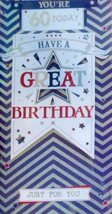 You're 60 Today Birthday Greeting Card
