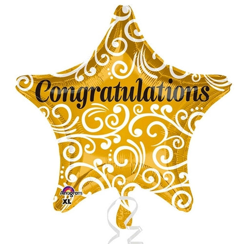 Congratulations Star Shape Helium Filled Foil Balloon