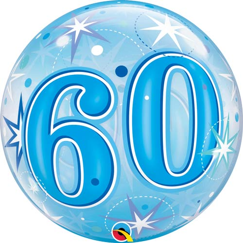 Blue 60 Helium Filled Single Bubble Balloon