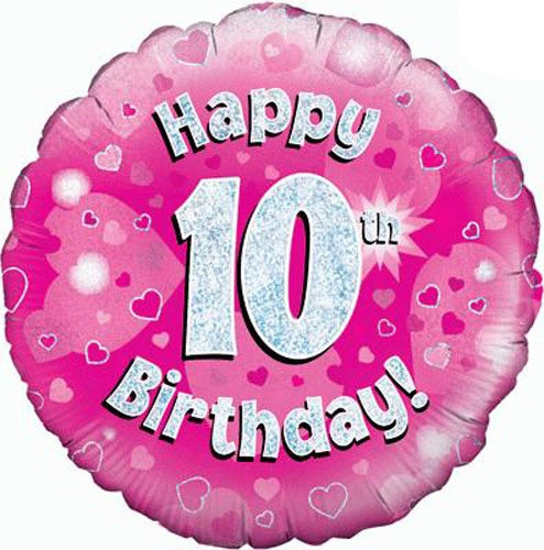 Happy 10th Birthday Pink Helium Filled Foil Balloon
