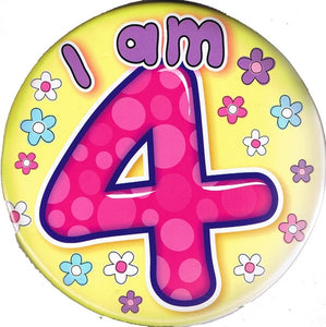 I Am 4 Pink And Yellow Jumbo Badge