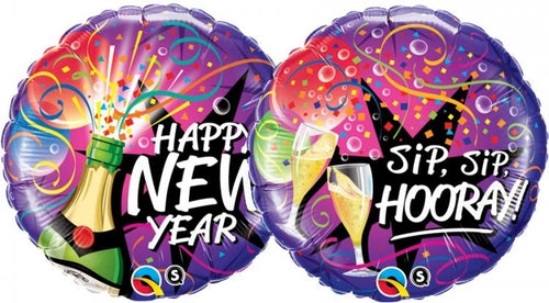 Happy New Year/Sip Sip Hooray Double Sided Helium Filled Foil Balloon