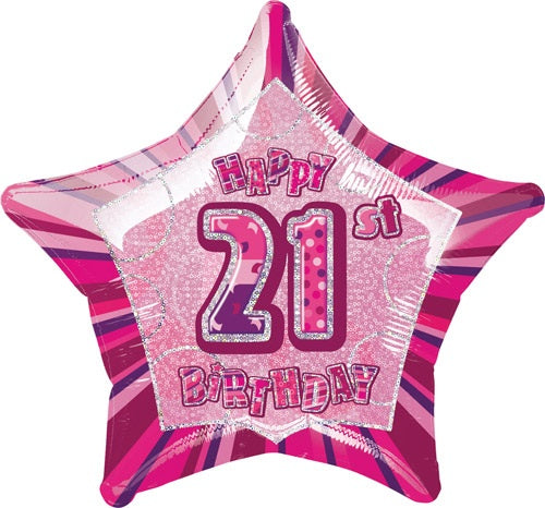 Happy 21st Birthday Pink Glitz Helium Filled Foil Balloon