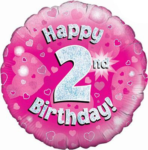 Happy 2nd Birthday Pink Helium Filled Foil Balloon