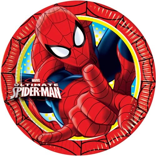 Spiderman Paper Party Plates x8