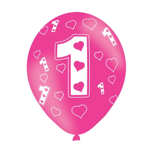 Age 1 Pink Latex Balloon (6 Pack)