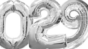 Silver Number Supershape Helium Filled Foil Balloon