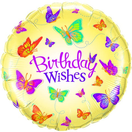 Birthday Wishes Butterflies Helium Filled Foil Balloon