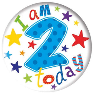 I Am 2 Today Blue And White Jumbo Badge