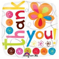 Colourful Flowers Thank You Helium Filled Foil Balloon