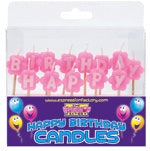 Happy Birthday Pink Flower Shape Candle Set