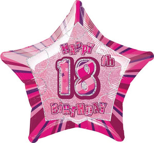 Happy 18th Birthday Pink Glitz Helium Filled Foil Balloon