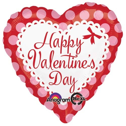 Happy Valentine's Day Dots Heart Shape Helium Filled Foil Balloon