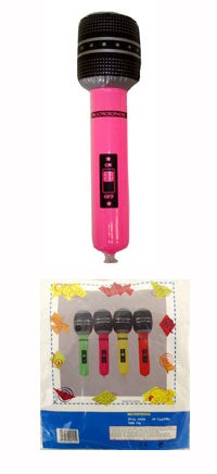 Inflatable Microphones 40cm In 4 Assorted Colours