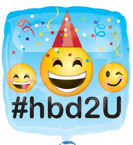 Happy Birthday Emoji #hbd2U Helium Filled Foil Balloon