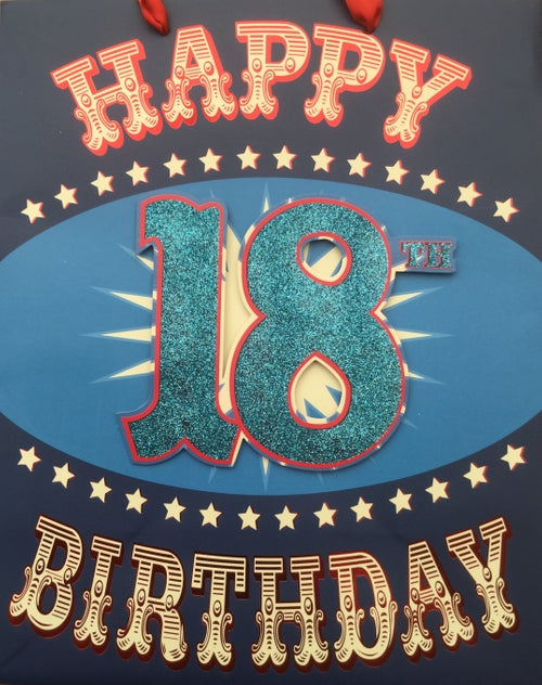 Happy 18th Birthday Handcrafted Blue Large Gift Bag