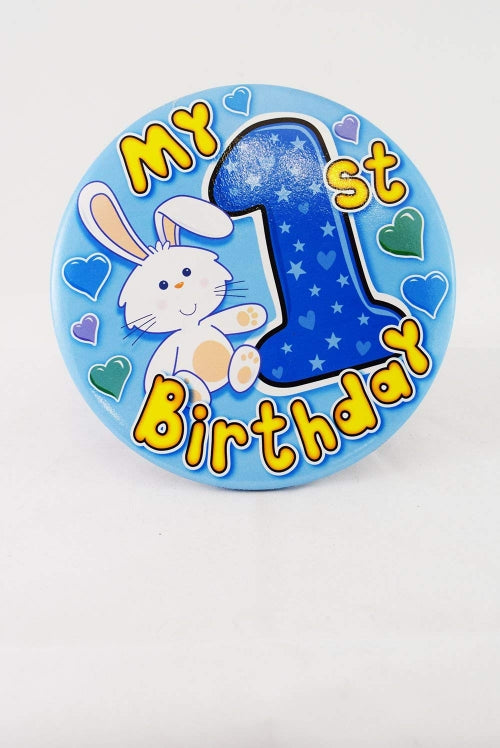 My 1st Birthday Blue Jumbo Badge