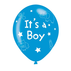 It's A Boy Latex Balloons (6 Pack)