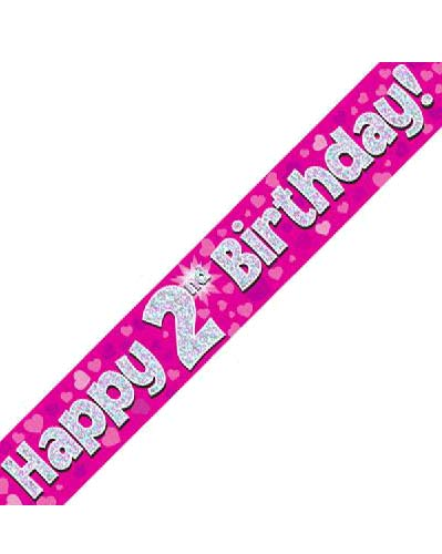 Happy 2nd Birthday Pink Holographic Banner